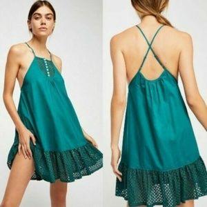 Free People Womens Large K3-07  Green Eyelet Dress